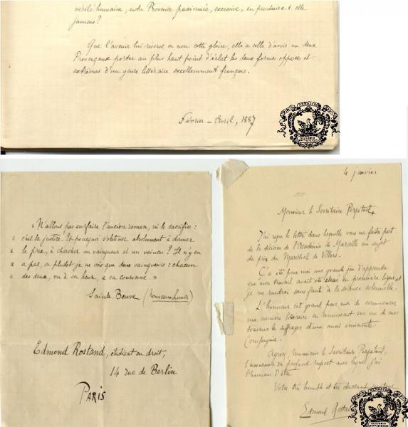 La dernière page du manuscrit ainsi que sa lettre d'accompagnement