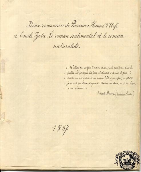 Page titre du manuscrit retrouvé d'Edmond Rostand