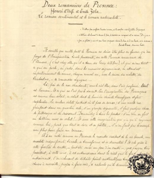 La première page du manuscrit d'Edmond Rostand