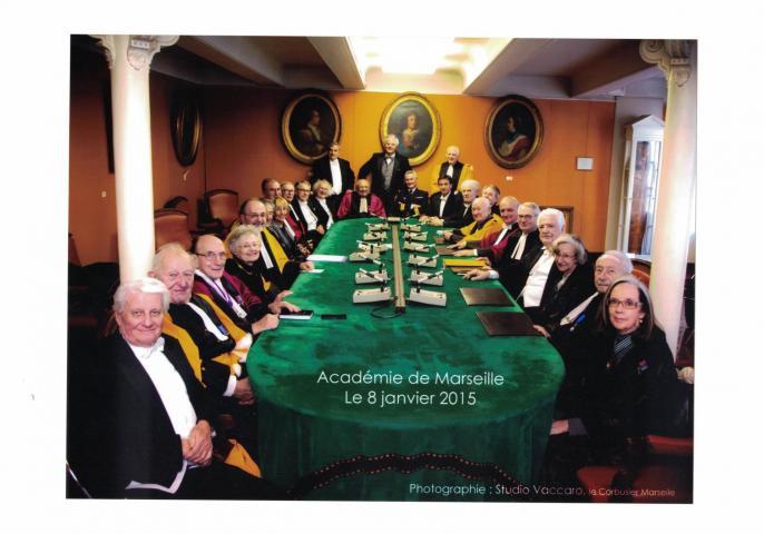 Les académiciens dans la salle des séances à la rue Thiers, le 8 janvier 2015  [Photo Vaccaro; Fonds Académie de Marseille ©]