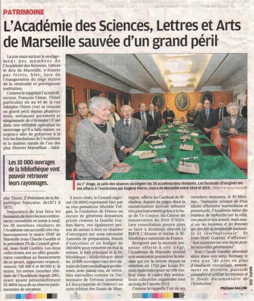 Article de la Provence, 13 Janvier 2012